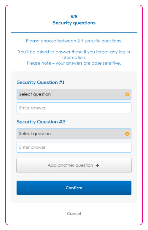 Setting Security questions