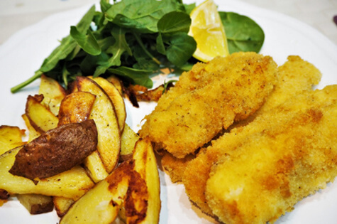 Homemade Fish Goujons & Chips by Rebecca from www.aaublog.com